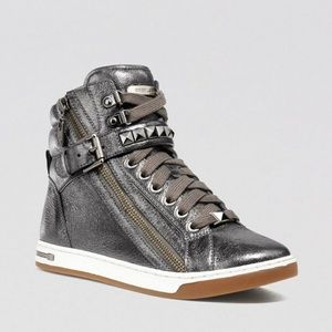Michael Kors Silver Glam Studded Hightop Sneaker,9